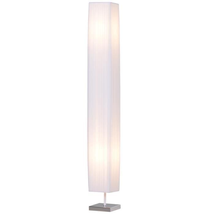 Lampe lampadaire colonne sur pied moderne lumière tamisée 40 W 14L x 14l x 120H cm inox blanc neuf 19
