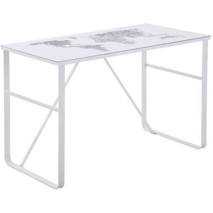 Bureau informatique design contemporain plateau verre trempé décor mappemonde lettres châssis métal blanc