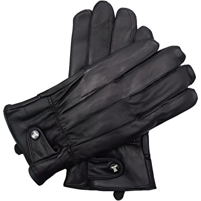 Gants cuir avec doublure polaire Torrente Couture Milo - Noir