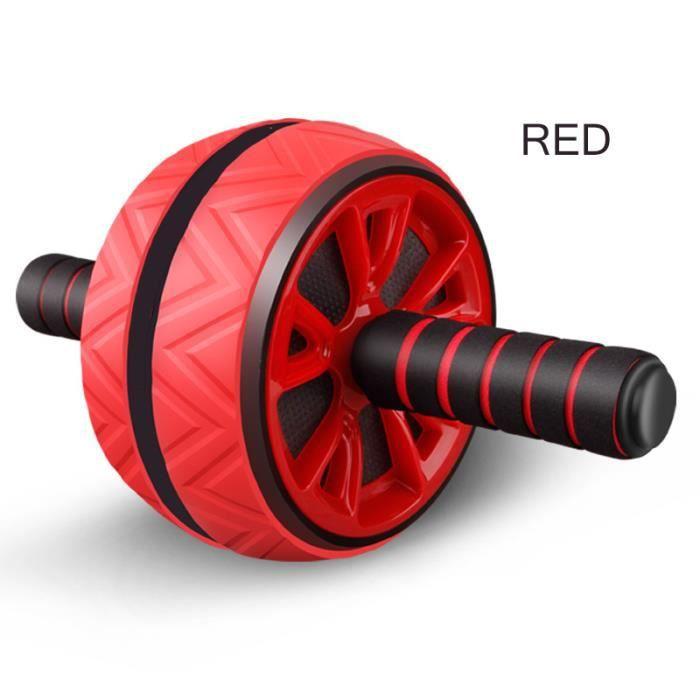 Rouleau d'entraînement des muscles abdominaux grande roue pour Fitness Abs Core Workout Abdominal Muscles Training Home Gym rouge