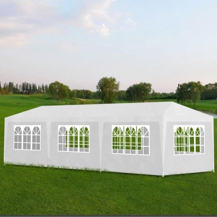 Tonnelle de jardin Tente de réception Chapiteau Blanc 3x9m