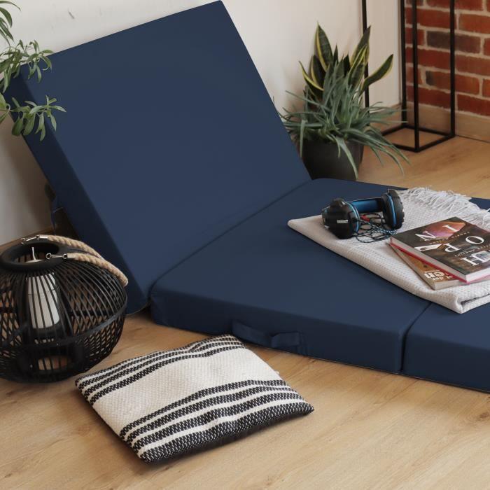 Matelas pliant Basic 195 x 65 x 8 cm en bleu - Matelas d'appoint transportable avec housse en microfibre