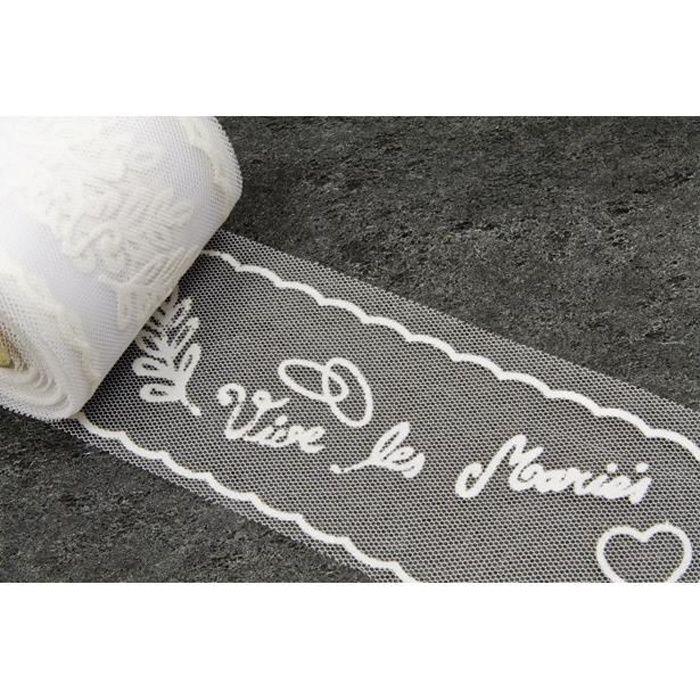 RL316 - 1 Ruban tulle mariage blanc pour décoration voiture 10m