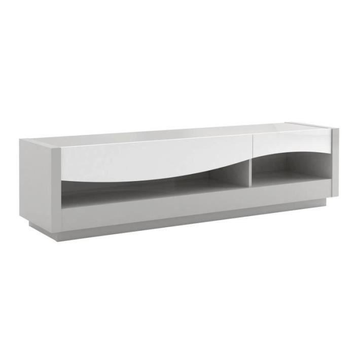 Meuble TV 2 tiroirs laqué Blanc/Gris - RALF - L 178 x l 45 x H 47