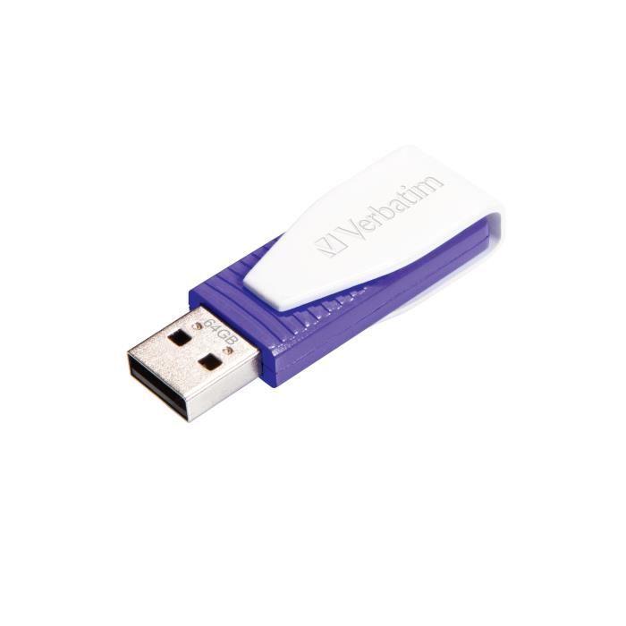 Verbatim Store 'n' Go Swivel, 64 Go, 2.0, Connecteur USB Type-A, Pivotant, violet