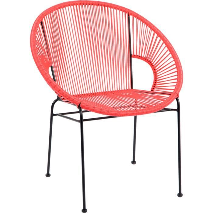 CHAISE Chaise Design Ronde Mtal Pitement Carr Rouge