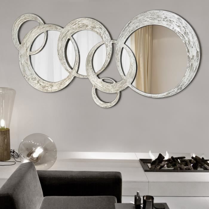 miroir d coratif mural design italien circles d cor la main achat vente miroir soldes. Black Bedroom Furniture Sets. Home Design Ideas