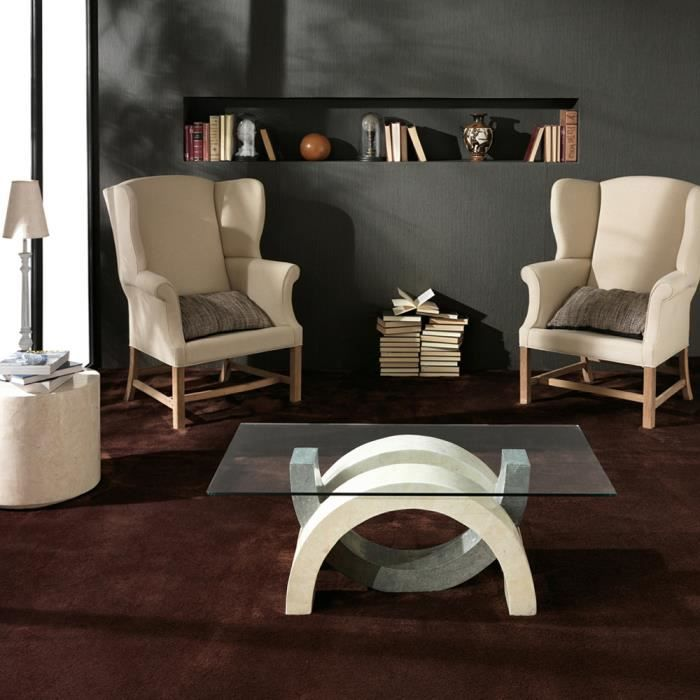 table basse en verre et pierre fossile olimpia par stones achat vente table basse table. Black Bedroom Furniture Sets. Home Design Ideas