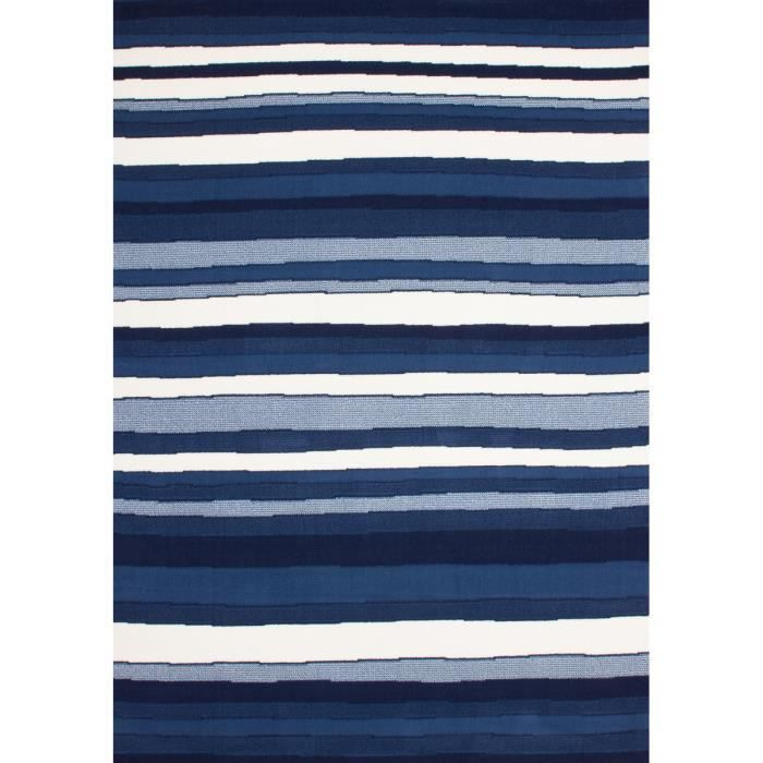 tapis de salon dessin moderne bleu blanc strip 10mm poil 190x280cm achat vente tapis cdiscount. Black Bedroom Furniture Sets. Home Design Ideas