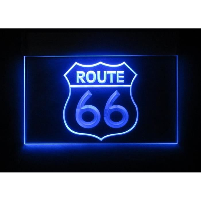 verre publicitaire route 66 neon bleu d co usa achat vente objet d coration murale verre. Black Bedroom Furniture Sets. Home Design Ideas