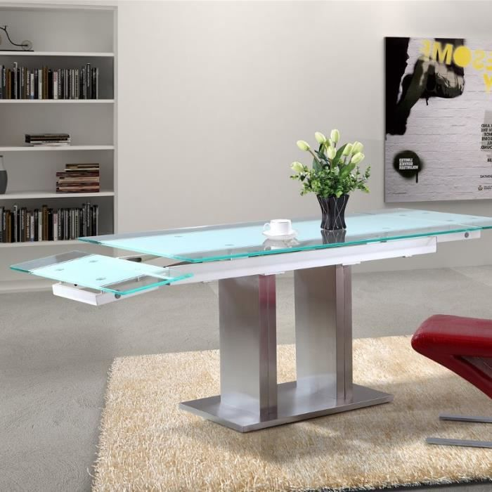 Table en verre extensible lux pied central 210 150 achat vente table a ma - Table a manger verre extensible ...