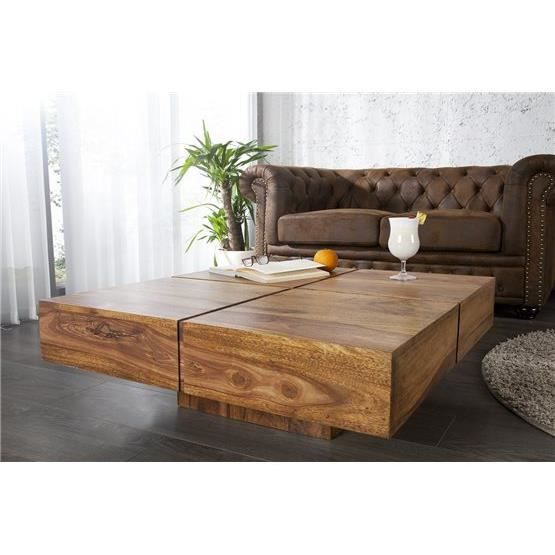 Table basse en bois tolb naturel achat vente table for Table basse en bois naturel