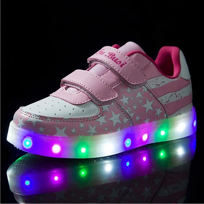 Korean Mode chaud chaussures 7 Couleu Enfants USB Charge LED Lumineux Chaussures de Sports Baskets Garcon Fille blanc kZPOYI