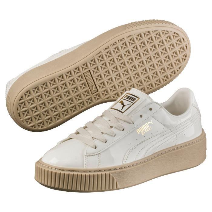 puma basket platform patent sneakers basses femme