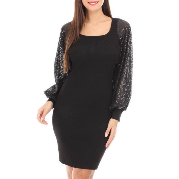 Robe Pull Noire A Manches Bouffantes Et Sequins Noir Achat Vente Robe Cdiscount