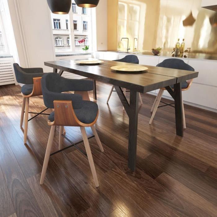 lot de chaises de salle a manger style contemporain scandinave chaise cuisine 4 pcs bois et rembourrage en tissu