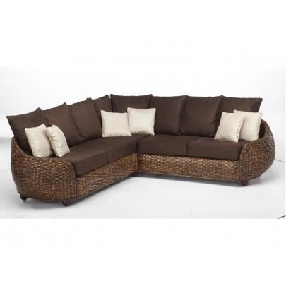 canap d 39 angle sym trique en tissu et rotin agrigente chocolat achat vente canap sofa. Black Bedroom Furniture Sets. Home Design Ideas