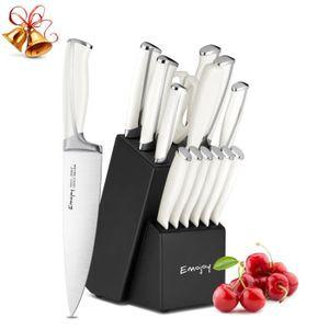 COUTEAU DE CUISINE  Lot de 15 Couteau de Cuisines, Bloc de Couteaux Pr