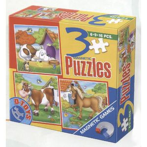 PUZZLE D-Toys - 3 in 1 Jigsaw Puzzles (6-9-16 Pcs) Magnet
