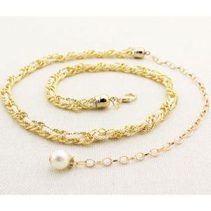 CHAINE DE TAILLE - CHAINE D'EPAULE  (blanc)la chaîne chaîne de pearl femmes taille fi