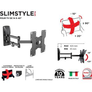 FIXATION - SUPPORT TV MELICONI 480985 Support mural TV inclinable et ori