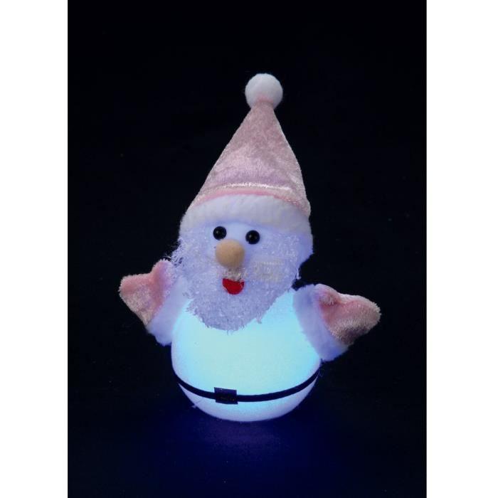 Père noël lumineux 1 LED 16x7,5 cm rouge