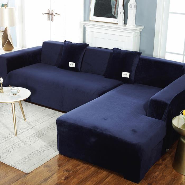 Housse de canapé en forme de L en peluche épaisse de couleur unie, sac universel simple tout-en-un élastique antidérapant - bleu