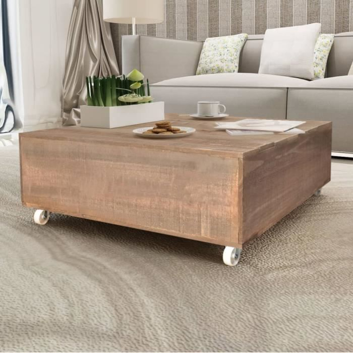 💜MAISON- Table basse avec quatre roulettes Bois massif Marron❀8319