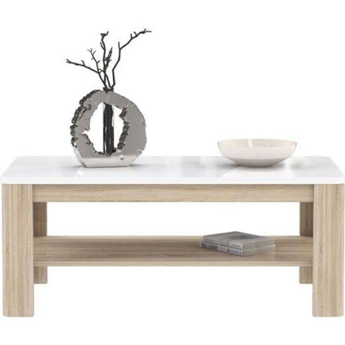 Table Basse rectangulaire Plateau laqué Blanc et piétement Bois - Collection ALEXIANE