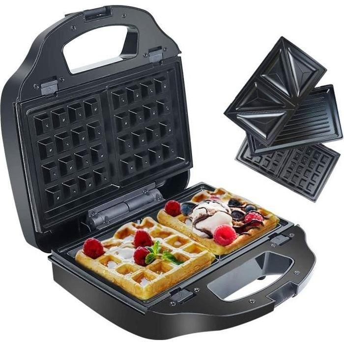 Gaufrier Croques Monsieur 3 en 1, Gauffrier Electrique Grill Panini Multifonctions Appareil à Sandwich avec Plaques Antiadhésives et