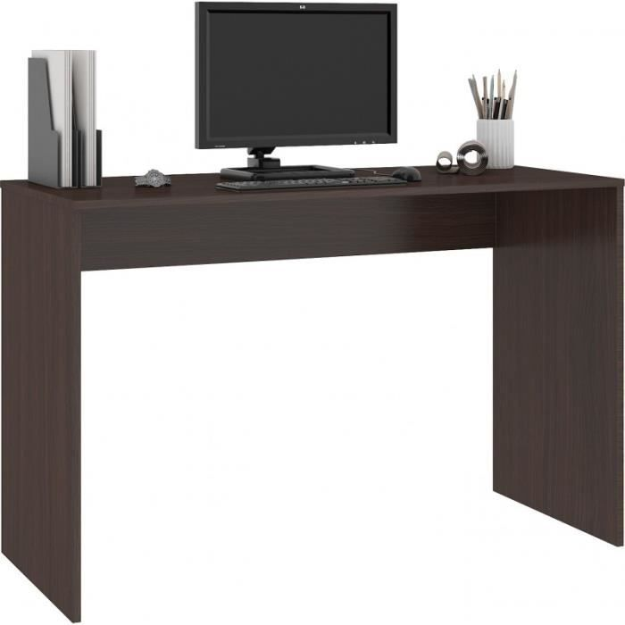 ALLURE - Bureau classique 129x79x50 cm - Design moderne - fonctionnel - Grand plateau Table d'ordinateur portable - Wenge