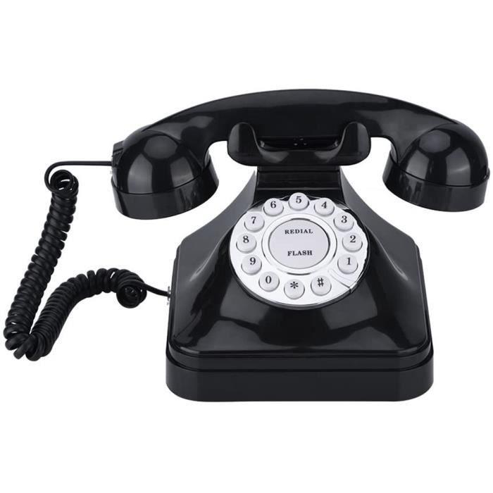 Téléphone Vintage - Téléphone fixe rétro décoration de bureau à domicile (noir) -YES