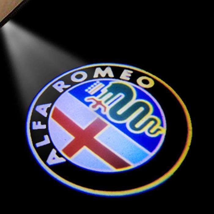 Couleur logo-b Alfa Romeo LED Porte de Voiture Logo Lumière Bienvenue Lumière LED Éclairage Pour Alfa Romeo 1