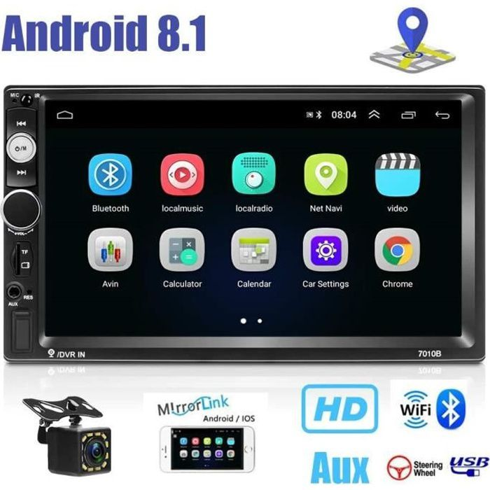 Android 8.1 Double Din Car Navigation Stéréo Divertissement Multimédia Radio Dash GPS Autoradio WiFi-Bluetooth-AUX-USB-TF Mirro 305