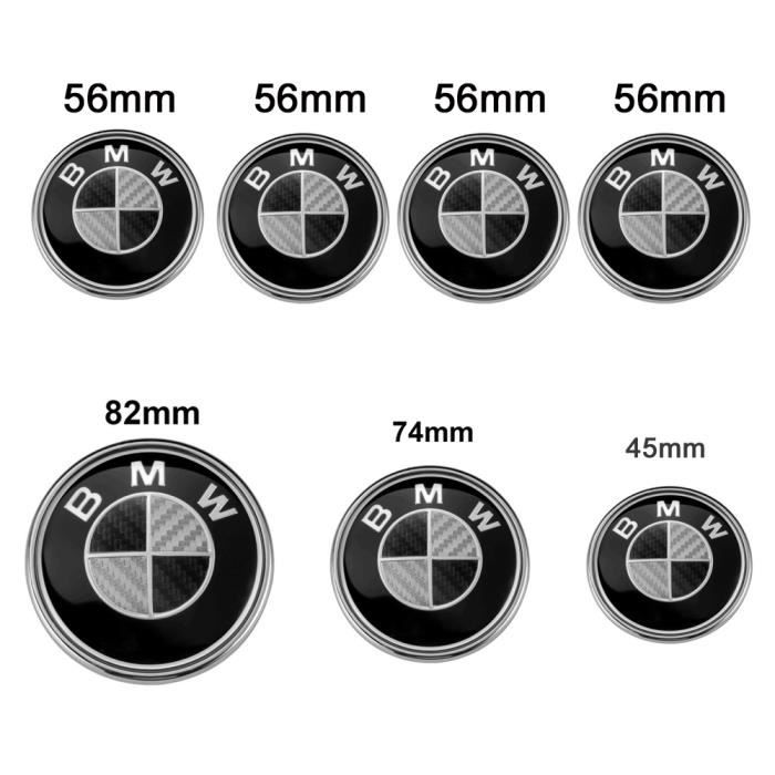Lot De 7 Bmw Carbone Noir Logo Emblème Centre De Roue Enjoliveur De Roue 4PCS Logo BMW OD56mm Centre De Roue Cache Moyeu