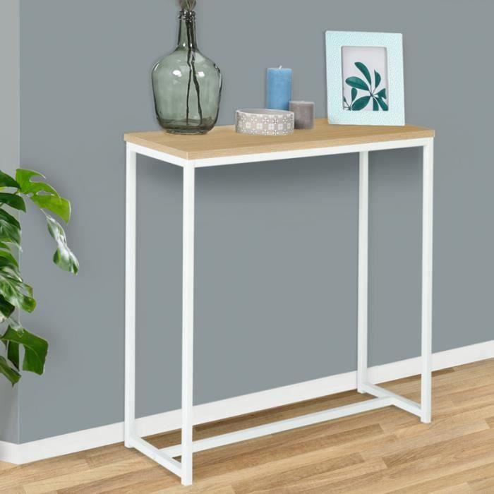 ID MARKET - Console DETROIT design industriel bois et métal blanc