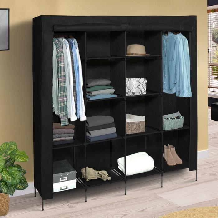 Grande armoire de rangement noire dressing DOUBLE penderie XXL tissu