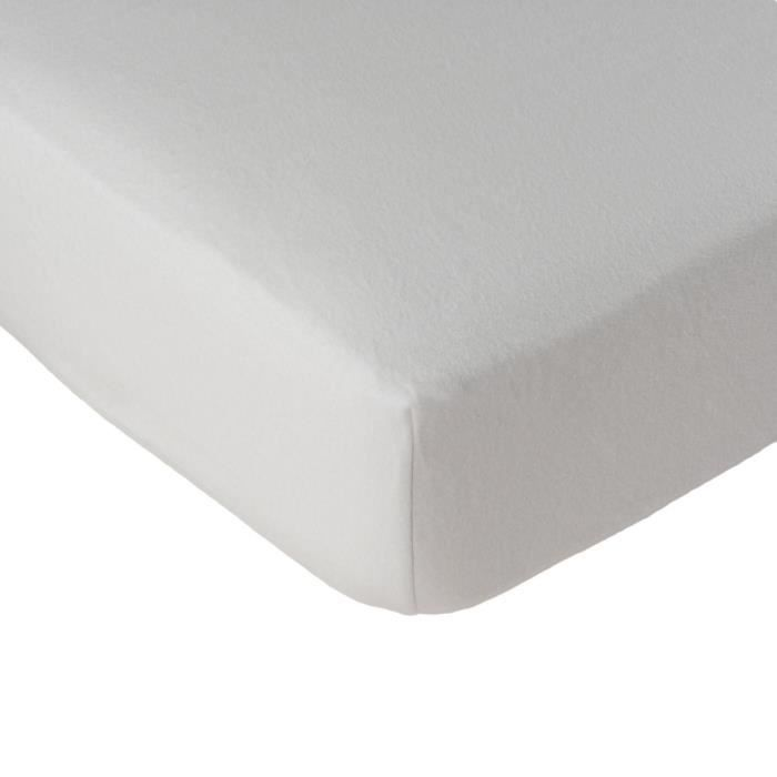 LINANDELLE - Alèse protège matelas coton molleton SERENITE - Blanc - 80x190 cm