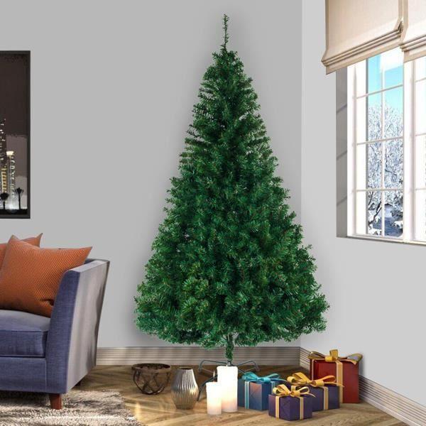 Sapin de Noël Artificiel 240 cm, 1138 Pointes de Branche, Assemblage Rapide, Support d'arbre de Noël en métal - Noël, Vert 2,4 m
