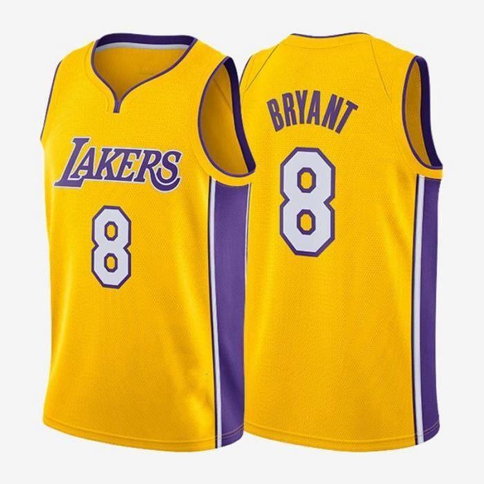 Maillot de Basket Ball Los Angeles Lakers #8 Kobe Bryant Homme Basketball Pas Cher Jaune