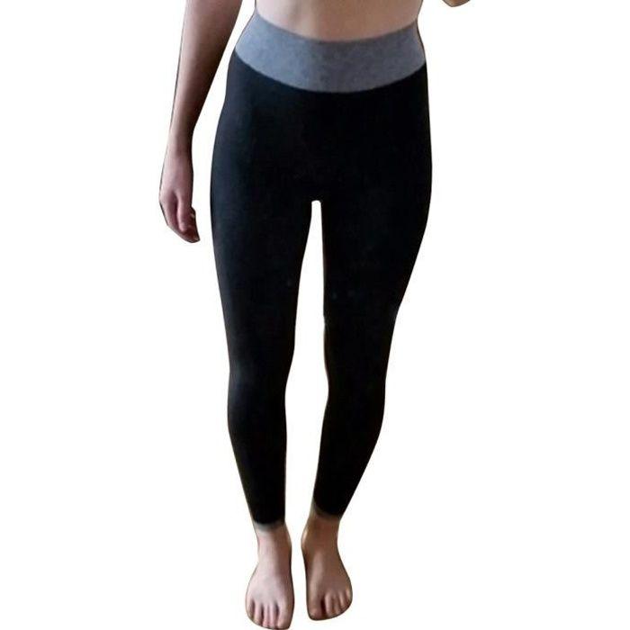Legging Sport Femme Pantalon Yoga Confortable Elastique Taille Haute Collant Basique Fitness Minceur Noir S