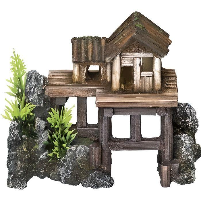 Nobby - Décoration pour aquarium - Avec plantes - Maison en bois - 15,5 x 8 x 12 cm