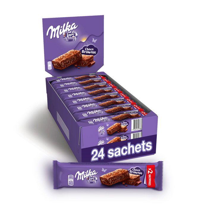 MILKA Choco Brownie - Gâteau moelleux au Chocolat et Pépites de Chocolat - Présentoir de 24 Sachets x 50 g