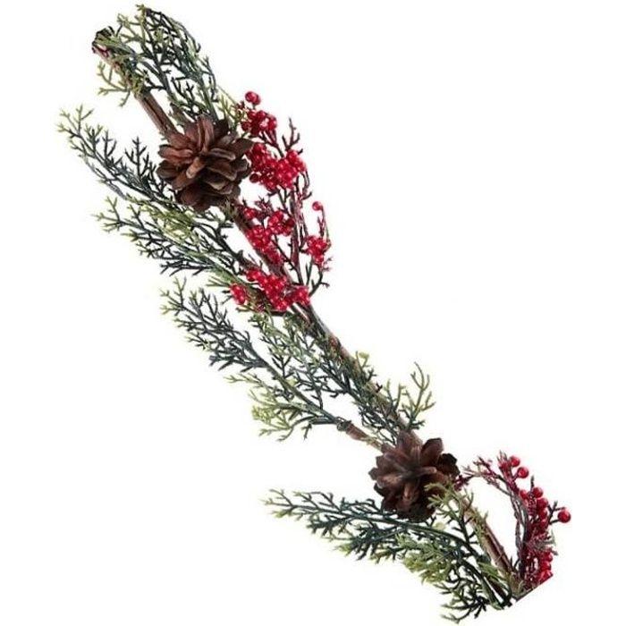 Centre de table de Noël avec grande branche de houx verte et rouge (x1) R/7150