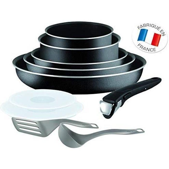 Tefal L2009802 Set de poêles et casseroles - Ingenio 5 Essential Noir Set 10 Pièces - Tous feux sauf induction L2009802