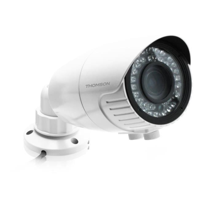THOMSON Caméra de surveillance CCD supplémentaire intérieur et extérieur pour enregistreur vidéo NVR 1080p PoE