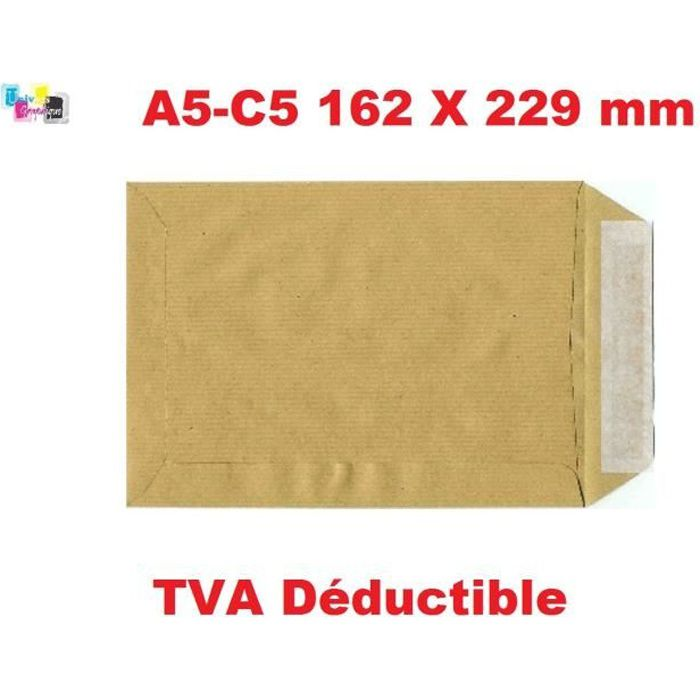 100 - pochette A5, enveloppe A5 162 x 229 mm enveloppe Kraft 90g fermeture avec bande adhésive autocollante - Paquet De 100. envelop