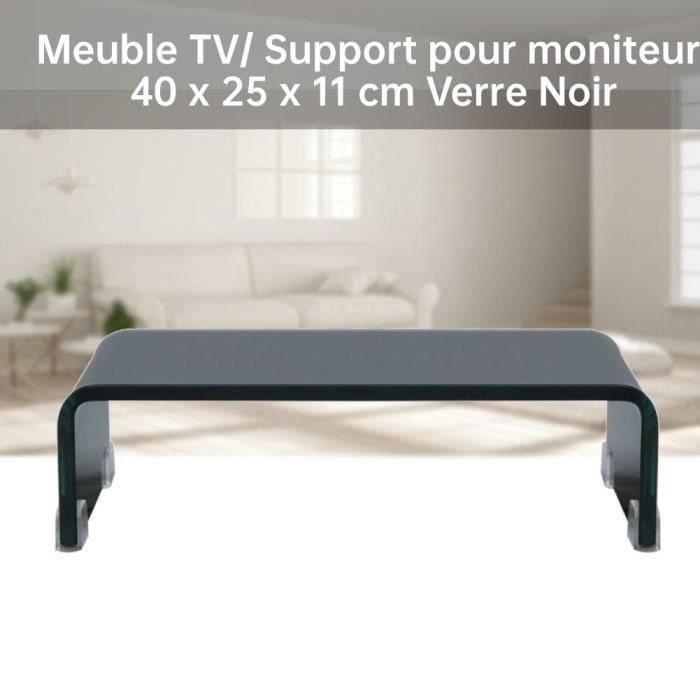 GES Meuble TV/ Support pour moniteur 40 x 25 x 11 cm Verre Noir-VBESTLIFE2