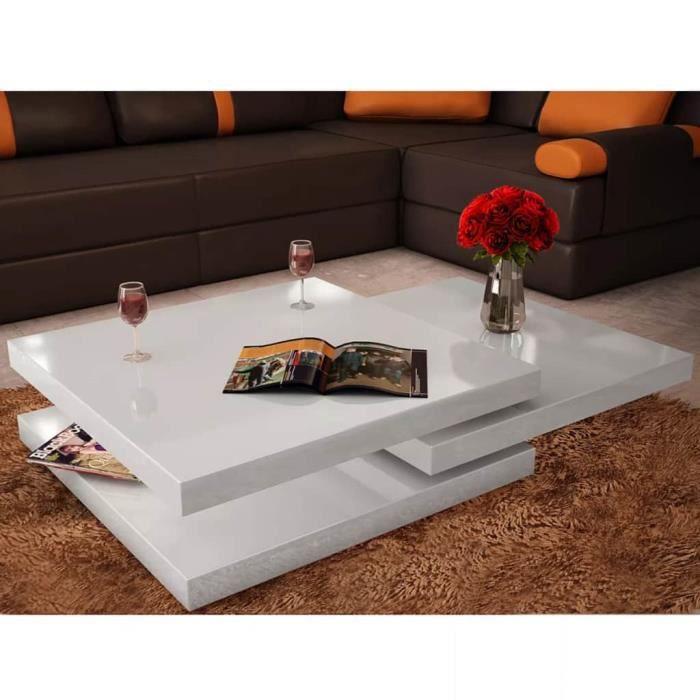 Table basse 3 étagères Blanc brillant 80 x 80 x 30,5 cm (L x l x H)