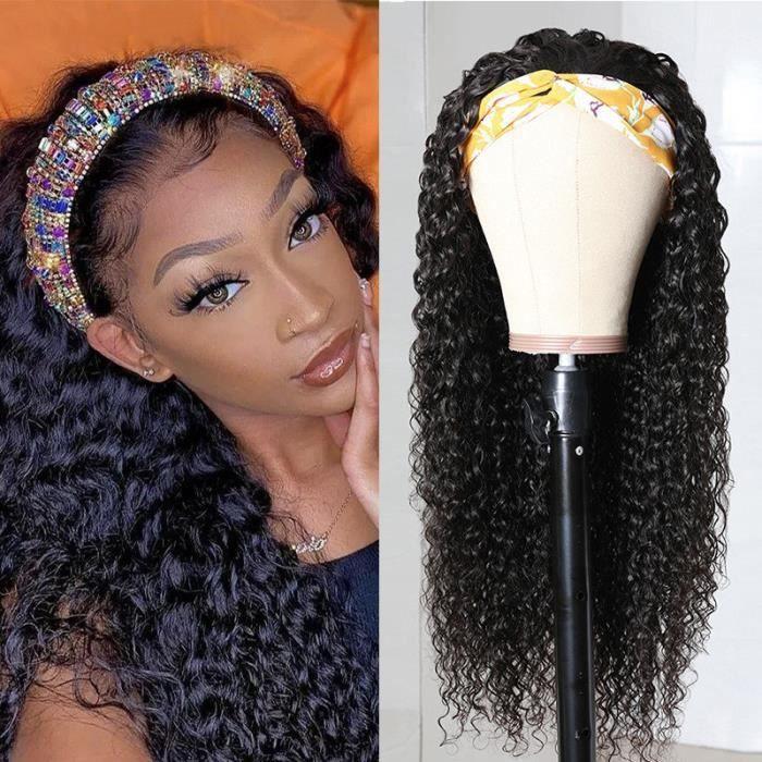 12pouce Vierge Bouclés Bandeau Perruque Cheveux Humains 150 Densité Remy Brésilien Fait à La Machine Bandeau Perruques